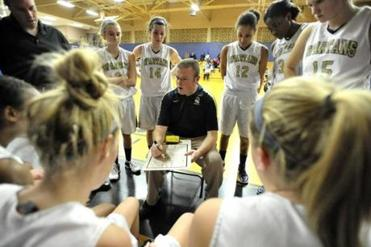 coach Jeff Newhall during a time out with defending Division 4 state champs St. Mary's of Lynn in their match-up with the Coyle & Cassidy Lady Warriors. JOSH REYNOLDS FOR THE BOSTON GLOBE (Regional Sports, macgillis)